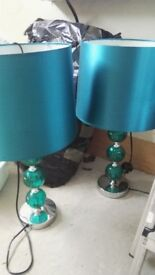 Pair of matching glass ball lamps