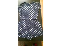 Forever 21 Womens blue polka dot playsuit