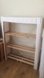 Pine and canvas wardrobe and shelf unit, free to collect