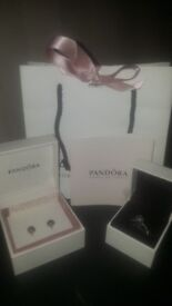 Pandora ring & earrings brand new