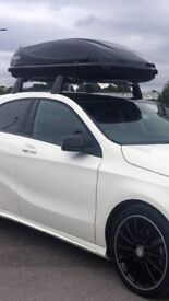 Mercedes roof bars and 400 litre roof box in black