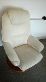Cream fabric recliner