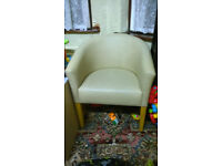 Bargain Clearance Leather Tub Armchair Dining Living Room Office Reception - Smoke & Pet FREE Home