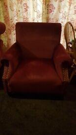 FREE - 2 Burgundy Velvet Armchairs & Footstool