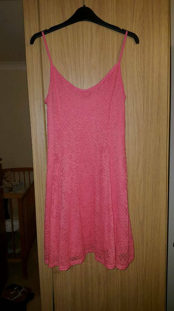 Pink/coral lace skater dress- Size 12