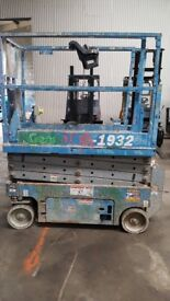 Genie GS1932. Full up to date safety cert. Narrow width, electric scissor lift. Recently serviced.
