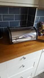 Silver metallic bread bin