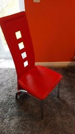 Dining tables & 6 red chairs