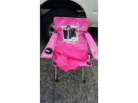 pink folding childs canvas chair in bag