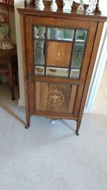 Mahogany side cabinet, inlaid, good condition, very attractive piece of furniture