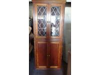 med colour wood glass corner cabinet