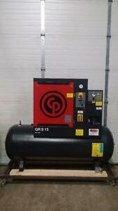 NEW 10hp 230v 3ph Chicago Pneumatic tank mounted screw air compressor