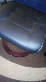 Real leather swivel recliner massage and heat chat with leather foot stool