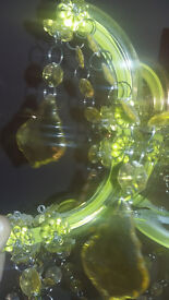 Next Green Crystal Chandelier Light Fitting