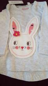 Girls 3-6 month rabbit top, brand new with tags