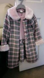 Pink checked overcoat & dress age 6