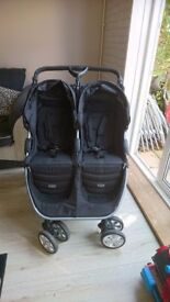 Britax b agile double pushchair, with britax car seat and isofix base.