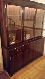 Glass Display cabinet solid wood with working locks.
