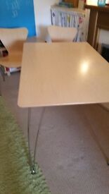 Beech Table with Chrome Legs with 4 matching Chairs