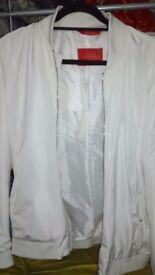 White bomber jacket / coat / baseball varsity jacket with Satin feel. QUALITY stylish jacket by ZARA