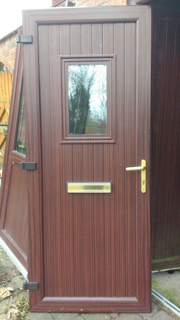 Mahogany upvc door set front door with side light back - Upvc double front exterior doors ...