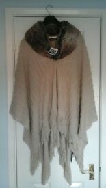 Natural coloured wrap with faux fur collar