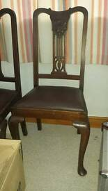 2 x high back carved dining room chairs