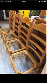 4 pine solid wooden chairs