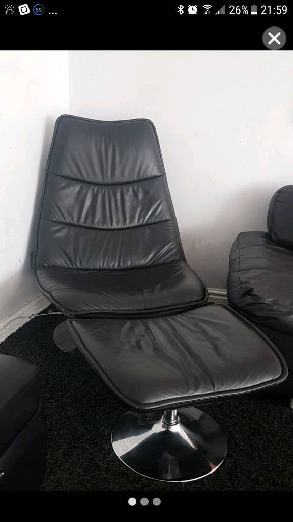 Leather recliner chair and foot rest