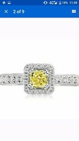 Beaverbrooks engagement ring, yellow diamond white gold, currently £3950 online