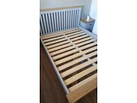 Chunky oak and grey king size bed