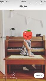 Mini upright piano with stool