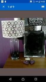Purple pink table lamp approx 47cms tall