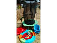 TODDLER TRAMPOLINE, SWING & SANDPIT GARDEN TOY BUNDLE
