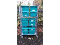 Heavy duty Wheeled tool storage cage complete with boxes only £60