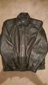 Mens black genuine leather jacked size small