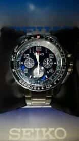 Seiko solar powered chronograph watch