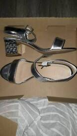 Silver shoes size 7 eee extra wide fit
