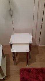 White glass coffee table tv unit and nest tables