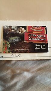 Open grill gift card.