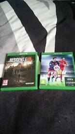 Resident evil biohazard and fifa 16 xbox one