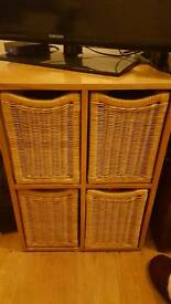 Wooden unit with basket drawers