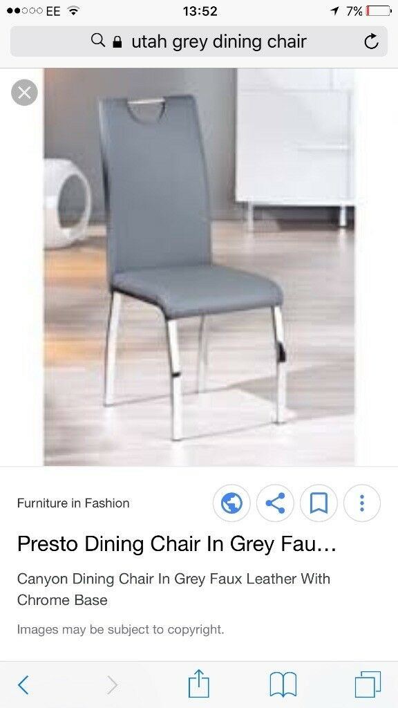 2 Faux leather grey dining chairs