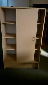 Decent size Shelving unit with sliding door