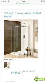 Vanguard Quadrant Shower tray & glass -Brand New, still boxed