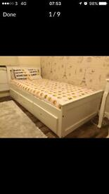 White Ikea 3 drawer single bed with mattress