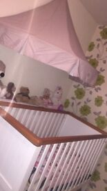 NURSERY ROOM SET. LARGE CRIB, 3 DRAWERS CHANGING TABLE & A WARDROBE