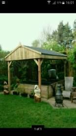 Wooden Garden pergola hot tub shelter 2.7x 2.7
