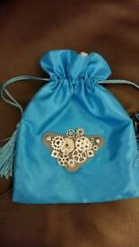 Steampunk purses with ribbon weaving flower design on other side. Various colours shown.
