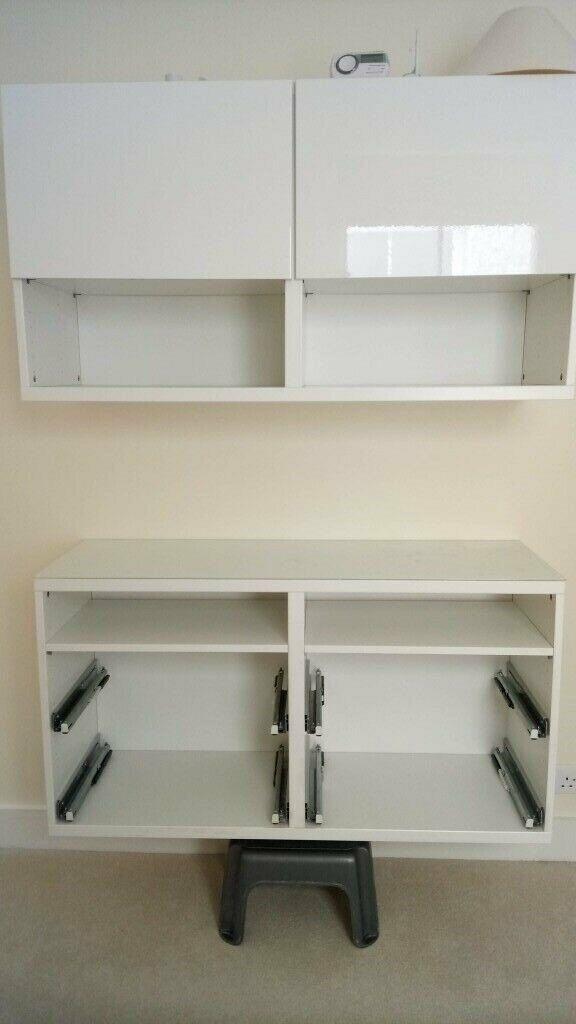 finest selection 6335a 95a60 IKEA white gloss double TV stand & storage unit/ wall mounted/ shelves and  drawers/ great condition | in Reading, Berkshire | Gumtree